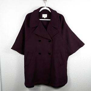LOFT wool blend front pocket button cape